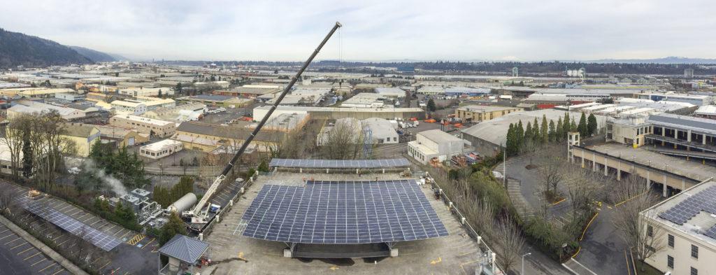 Quest Renewables QuadPod parking garage solar canopy in Portland OR
