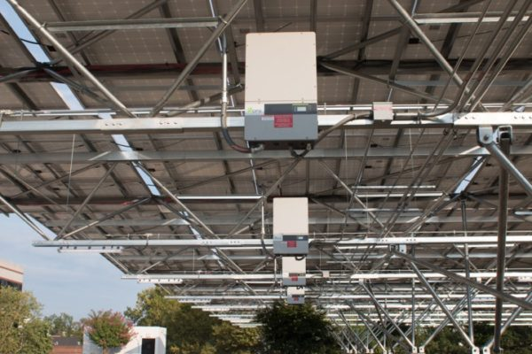 inverters mounted in quest renewables solar canopy