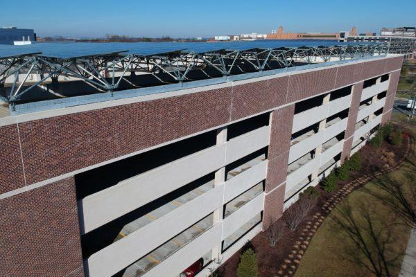 Solar carport on parking garage