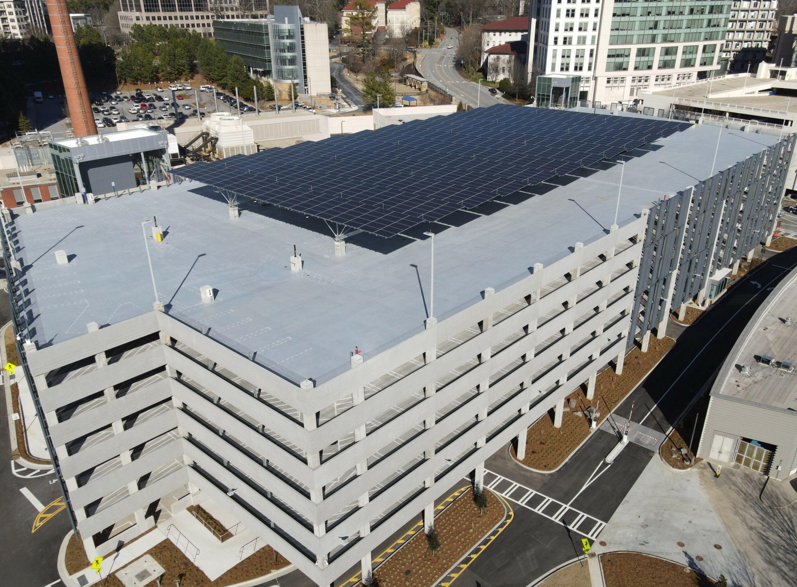 Quest Renewables long span solar carport Atlanta Georgia